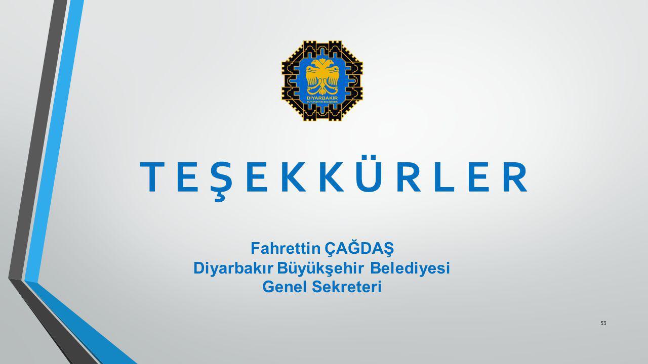 53 T E Ş E K K Ü R L E R Fahrettin ÇAĞDAŞ Diyarbakır Büyükşehir Belediyesi Genel Sekreteri