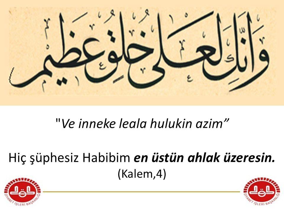 Vemâ erselnâke illâ rahmeten lil'âlemîn. (Ey Muhammed!) biz seni ancak âlemlere rahmet olarak gönderdik. (Enbiya, 107)
