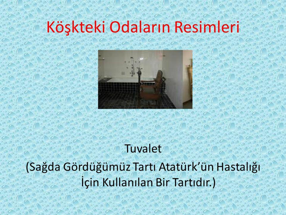 Köşkteki Odaların Resimleri Tuvalet (Sağda Gördüğümüz Tartı Atatürk'ün Hastalığı İçin Kullanılan Bir Tartıdır.)