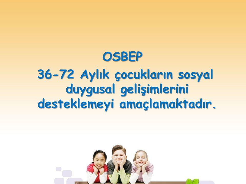OSBEP 36-72 Aylık çocukların sosyal duygusal gelişimlerini desteklemeyi amaçlamaktadır. 36-72 Aylık çocukların sosyal duygusal gelişimlerini desteklem