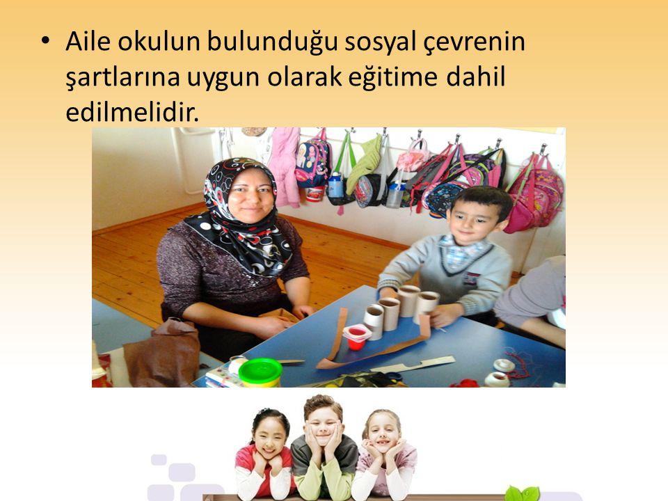 Aile okulun bulunduğu sosyal çevrenin şartlarına uygun olarak eğitime dahil edilmelidir.