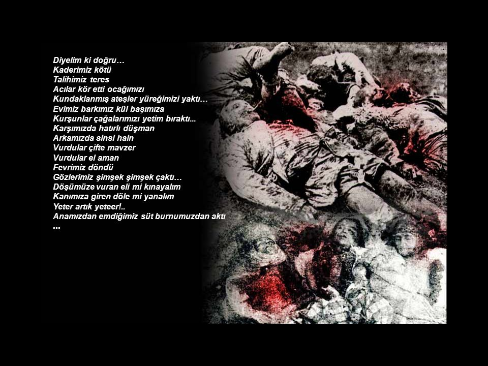 Diyelim ki doğru… Zülfikâr kılıç gibi kınından çektik öfkeyi Hançer yarası kanayan sırtımızın acısıyla İhanete ölüm saçtık… Kadınlarımız geride Erlerimiz cephede Kan sıçradı paylaştığımız ekmeğe Dualar gölgesinde ellerimizi Yaradan'a açtık… Hayır mıdır Şer midir içinde bulunduğumuz ahval-ı ruhiye Bilinmez… El eteğimize yapıştı Biz kendimizden kaçtık...