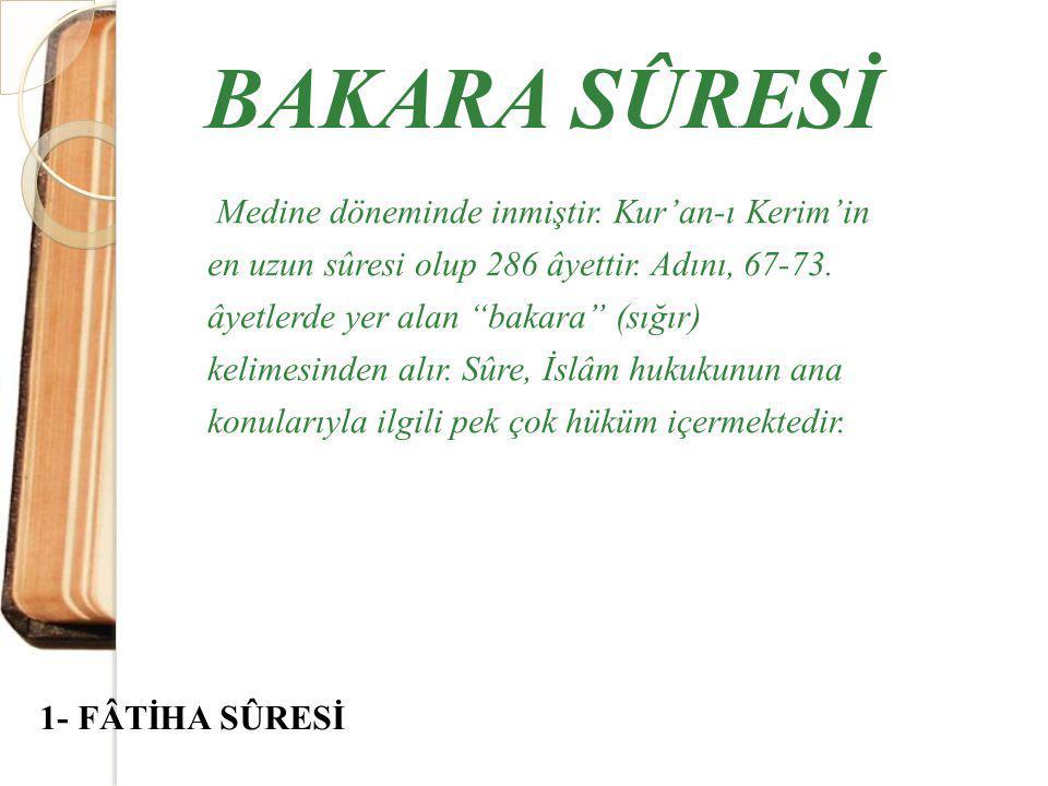 Medine döneminde inmiştir.Kur'an-ı Kerim'in en uzun sûresi olup 286 âyettir.