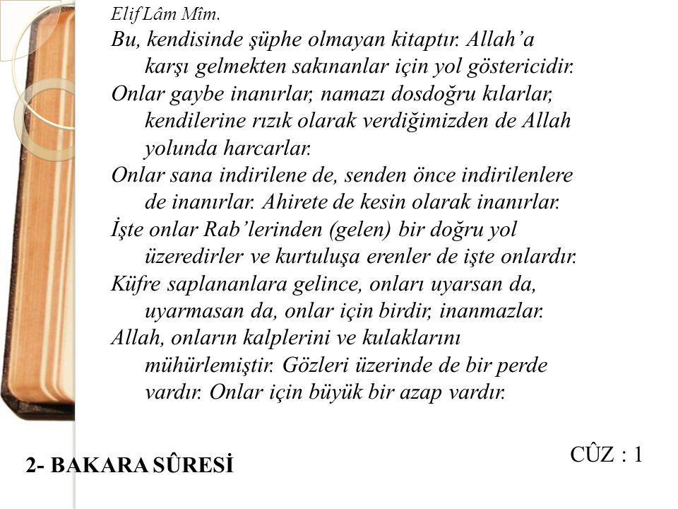"""Medine döneminde inmiştir. Kur'an-ı Kerim'in en uzun sûresi olup 286 âyettir. Adını, 67-73. âyetlerde yer alan """"bakara"""" (sığır) kelimesinden alır. Sûr"""