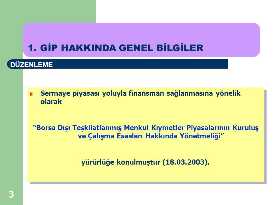 3 Sermaye piyasası yoluyla finansman sağlanmasına yönelik olarak Borsa Dışı Teşkilatlanmış Menkul Kıymetler Piyasalarının Kuruluş ve Çalışma Esasları Hakkında Yönetmeliği yürürlüğe konulmuştur (18.03.2003).
