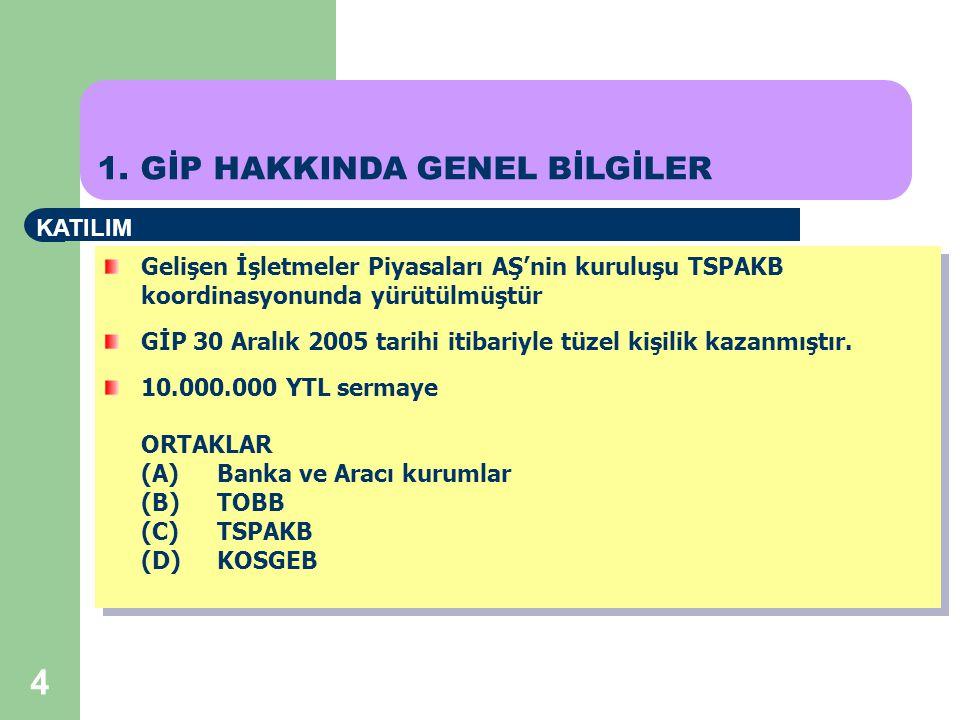4 Gelişen İşletmeler Piyasaları AŞ'nin kuruluşu TSPAKB koordinasyonunda yürütülmüştür GİP 30 Aralık 2005 tarihi itibariyle tüzel kişilik kazanmıştır.