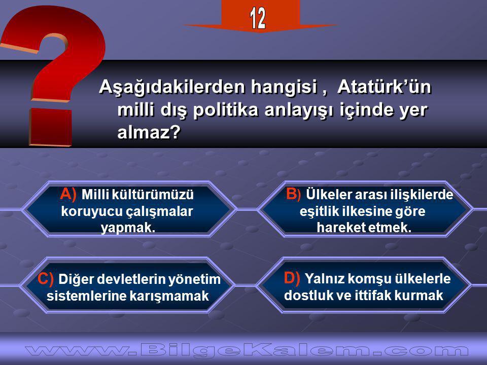 Aşağıdakilerden hangisi, Atatürk'ün milli dış politika anlayışı içinde yer almaz.