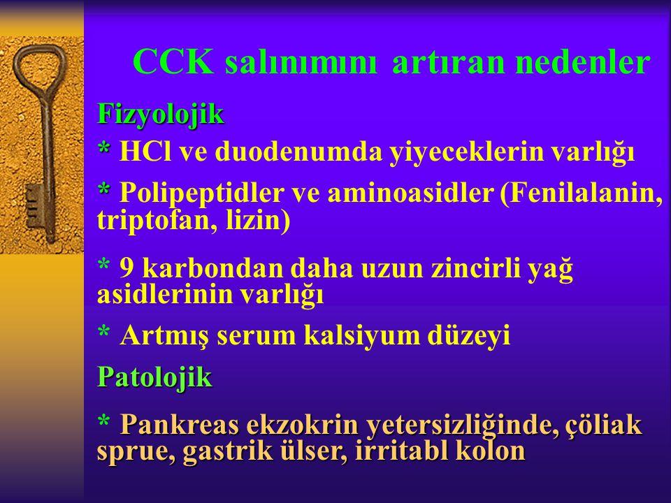 CCK salınımını artıran nedenler Fizyolojik * * HCl ve duodenumda yiyeceklerin varlığı * * Polipeptidler ve aminoasidler (Fenilalanin, triptofan, lizin