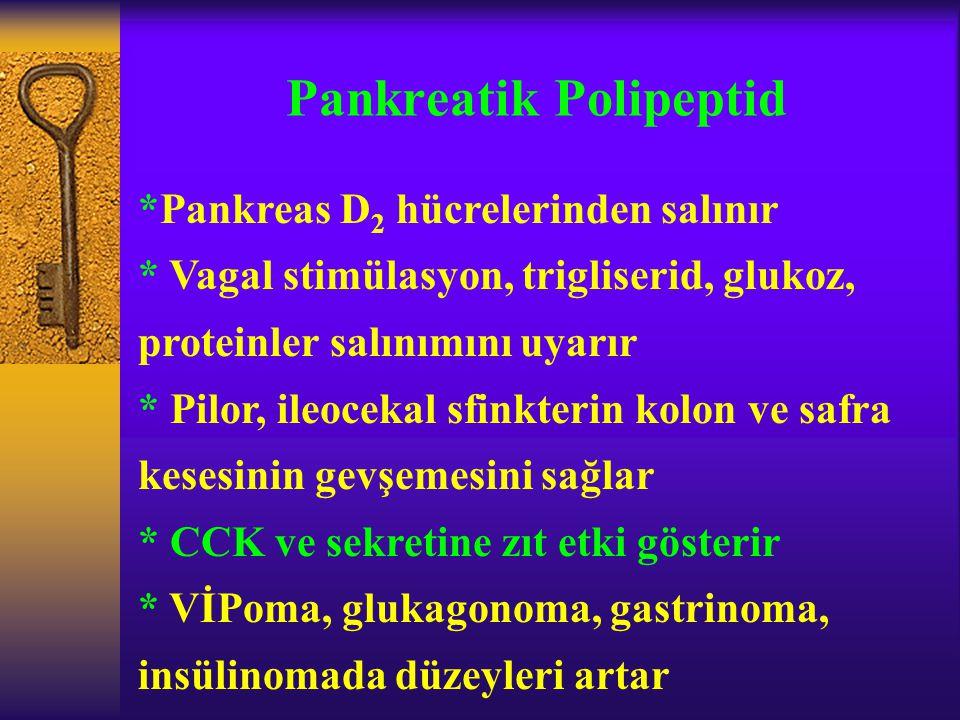 Pankreatik Polipeptid *Pankreas D 2 hücrelerinden salınır * Vagal stimülasyon, trigliserid, glukoz, proteinler salınımını uyarır * Pilor, ileocekal sf