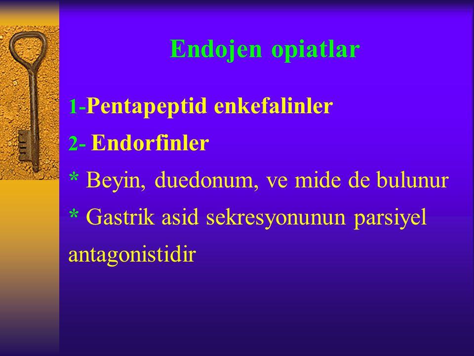Endojen opiatlar 1- Pentapeptid enkefalinler 2- Endorfinler * Beyin, duedonum, ve mide de bulunur * Gastrik asid sekresyonunun parsiyel antagonistidir