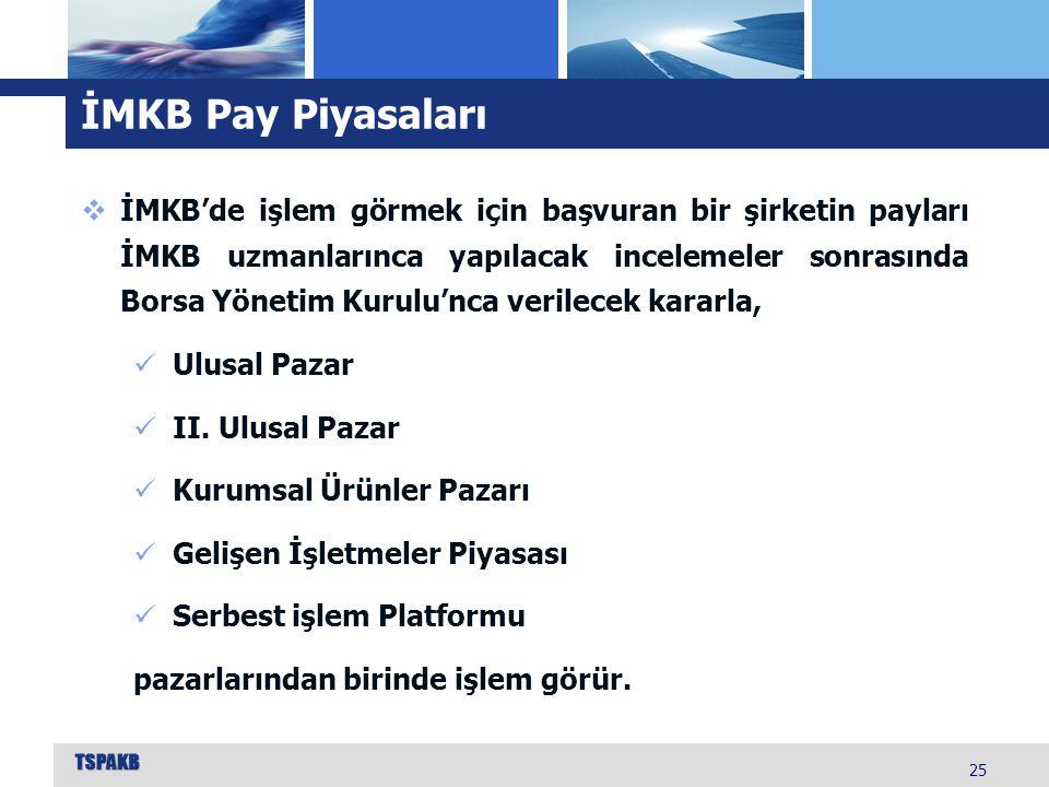 İMKB Pay Piyasaları 25  İMKB'de işlem görmek için başvuran bir şirketin payları İMKB uzmanlarınca yapılacak incelemeler sonrasında Borsa Yönetim Kuru