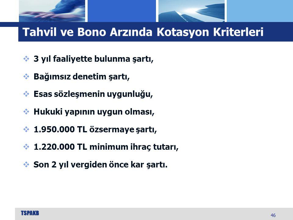 Tahvil ve Bono Arzında Kotasyon Kriterleri 46  3 yıl faaliyette bulunma şartı,  Bağımsız denetim şartı,  Esas sözleşmenin uygunluğu,  Hukuki yapın