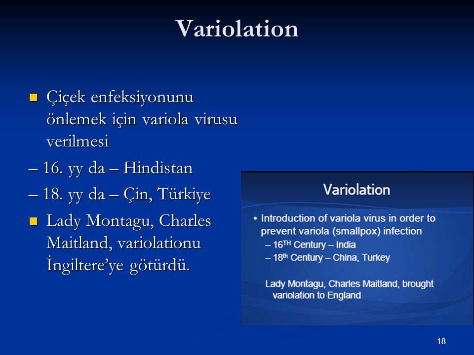 18 Variolation Çiçek enfeksiyonunu önlemek için variola virusu verilmesi Çiçek enfeksiyonunu önlemek için variola virusu verilmesi – 16. yy da – Hindi