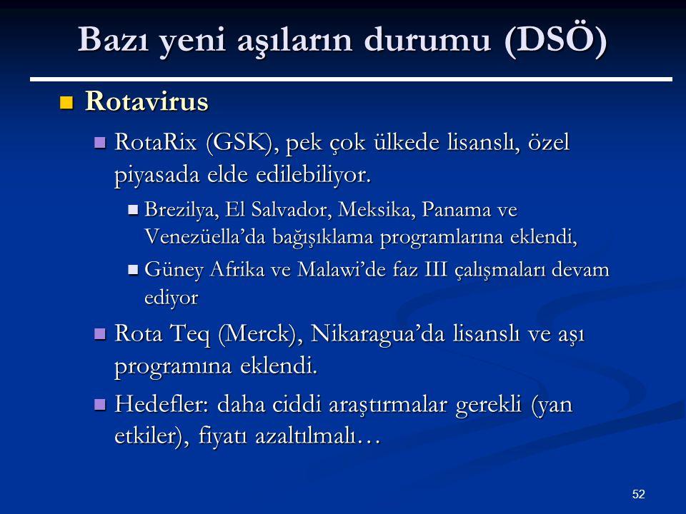 52 Bazı yeni aşıların durumu (DSÖ) Rotavirus Rotavirus RotaRix (GSK), pek çok ülkede lisanslı, özel piyasada elde edilebiliyor. RotaRix (GSK), pek çok