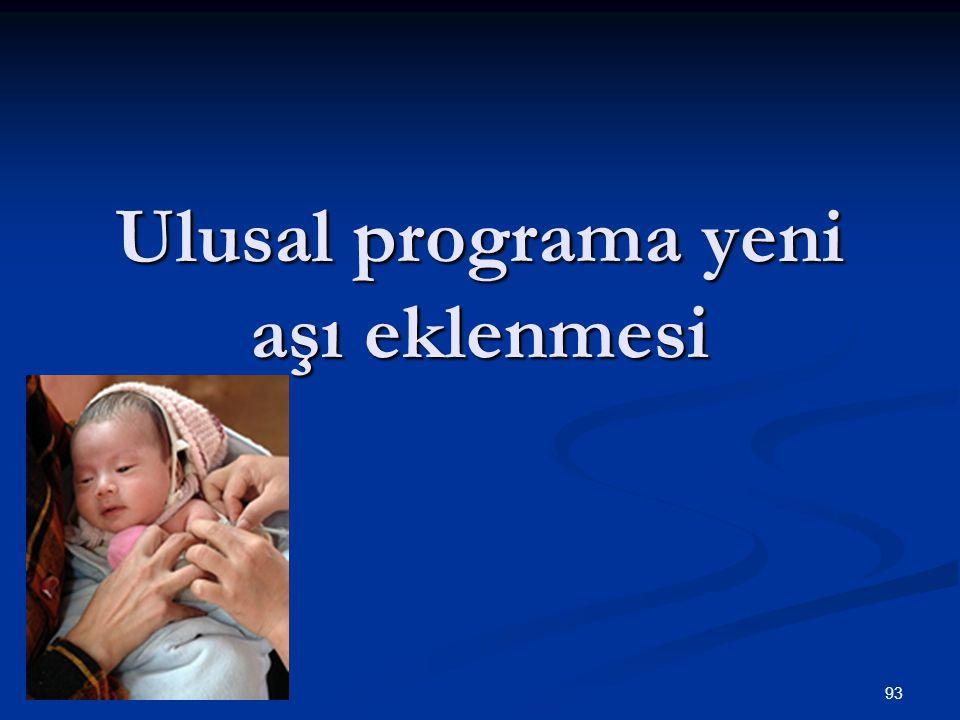 93 Ulusal programa yeni aşı eklenmesi