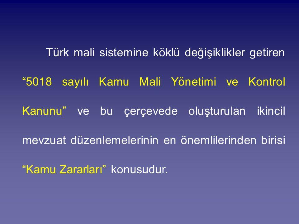 """Türk mali sistemine köklü değişiklikler getiren """"5018 sayılı Kamu Mali Yönetimi ve Kontrol Kanunu"""" ve bu çerçevede oluşturulan ikincil mevzuat düzenle"""