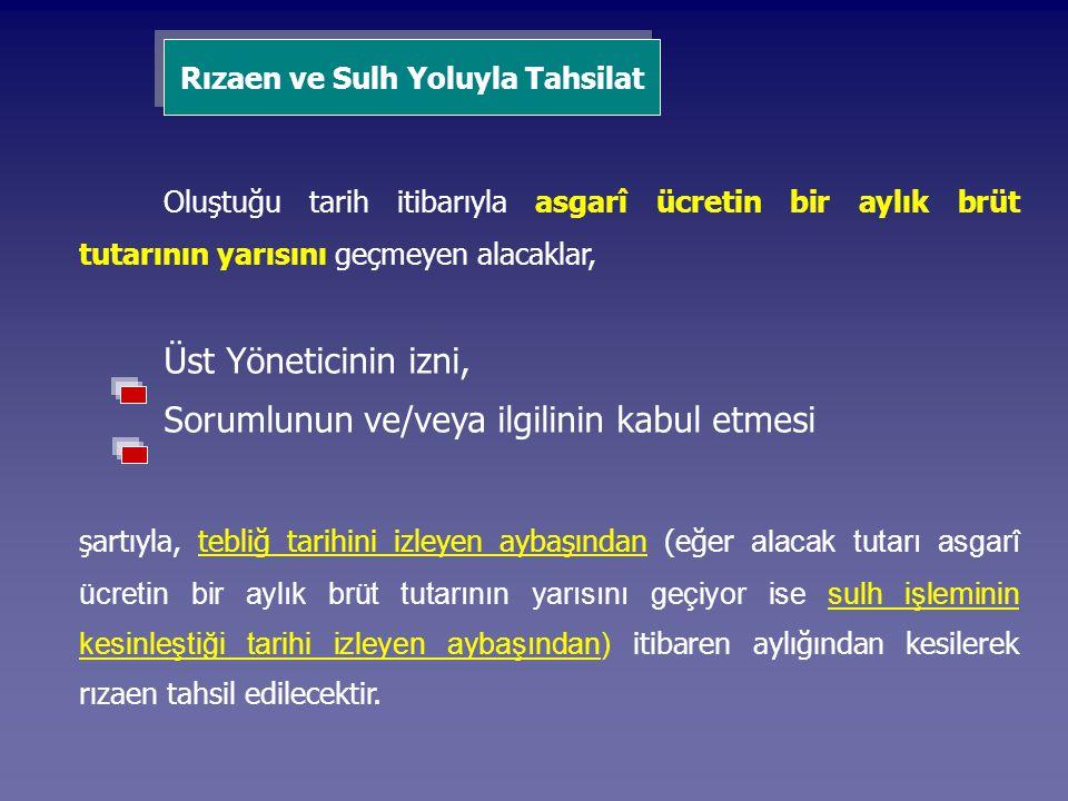 Rızaen ve Sulh Yoluyla Tahsilat Oluştuğu tarih itibarıyla asgarî ücretin bir aylık brüt tutarının yarısını geçmeyen alacaklar, Üst Yöneticinin izni, S
