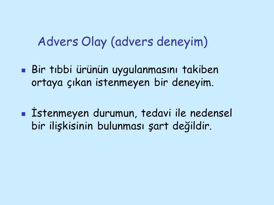 Advers Olay (advers deneyim) Bir tıbbi ürünün uygulanmasını takiben ortaya çıkan istenmeyen bir deneyim.