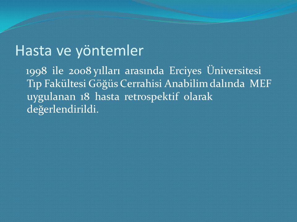 Hasta ve yöntemler 1998 ile 2008 yılları arasında Erciyes Üniversitesi Tıp Fakültesi Göğüs Cerrahisi Anabilim dalında MEF uygulanan 18 hasta retrospek