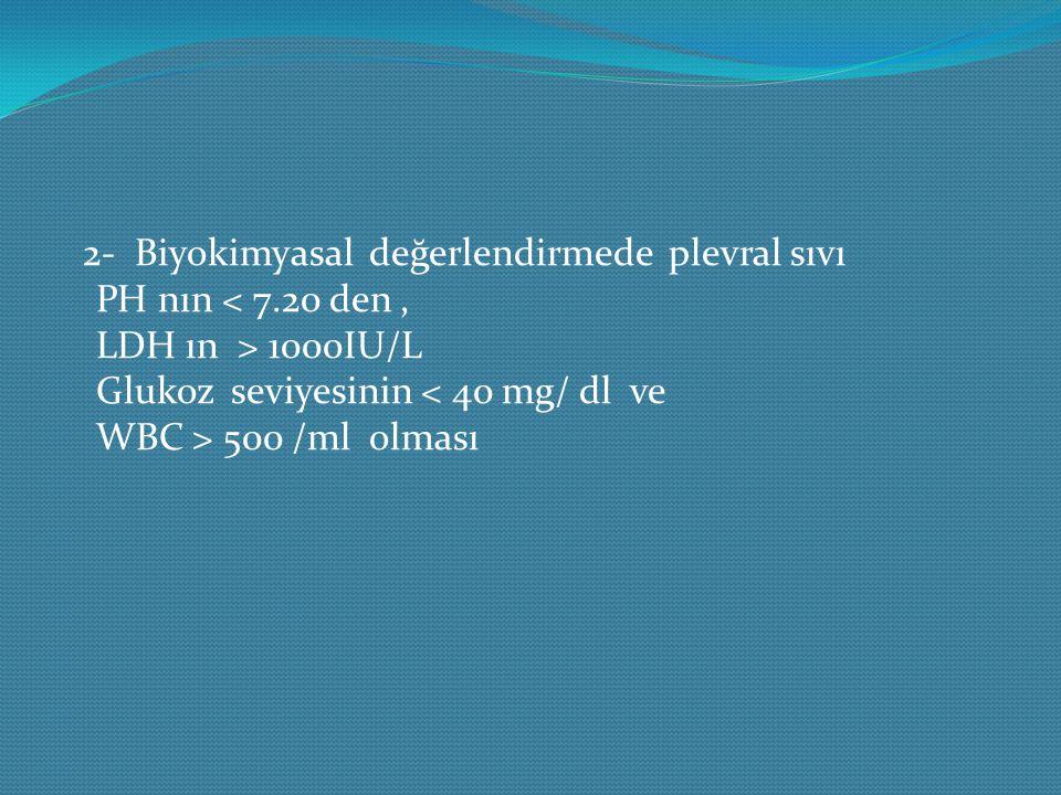 2- Biyokimyasal değerlendirmede plevral sıvı PH nın 1000IU/L Glukoz seviyesinin 500 /ml olması