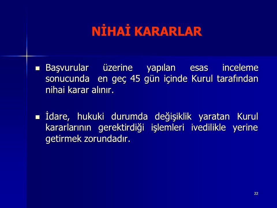 22 NİHAİ KARARLAR Başvurular üzerine yapılan esas inceleme sonucunda en geç 45 gün içinde Kurul tarafından nihai karar alınır.