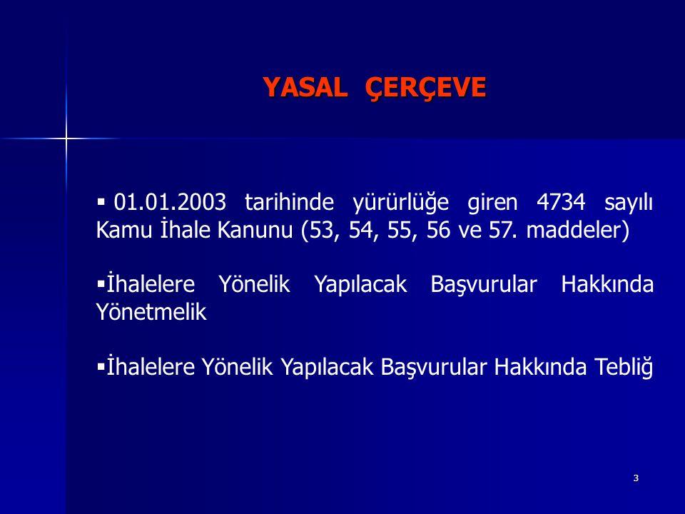3 YASAL ÇERÇEVE  01.01.2003 tarihinde yürürlüğe giren 4734 sayılı Kamu İhale Kanunu (53, 54, 55, 56 ve 57.