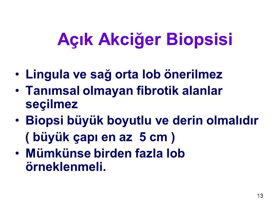 13 Açık Akciğer Biopsisi Lingula ve sağ orta lob önerilmez Tanımsal olmayan fibrotik alanlar seçilmez Biopsi büyük boyutlu ve derin olmalıdır ( büyük çapı en az 5 cm ) Mümkünse birden fazla lob örneklenmeli.