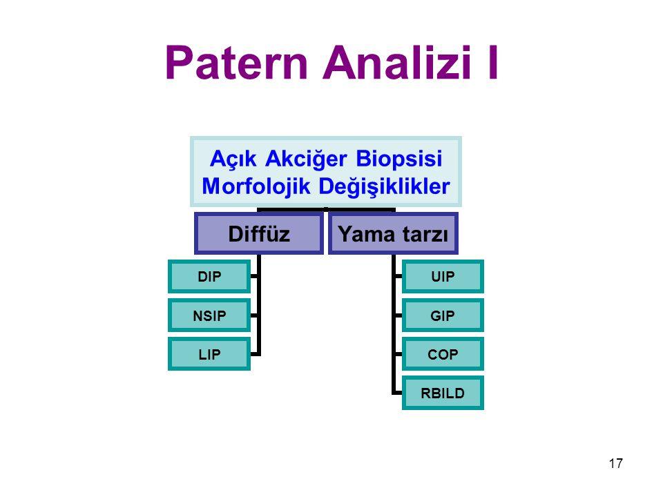 17 Patern Analizi I Açık Akciğer Biopsisi Morfolojik Değişiklikler Diffüz DIP NSIP LIP Yama tarzı UIP GIP COP RBILD
