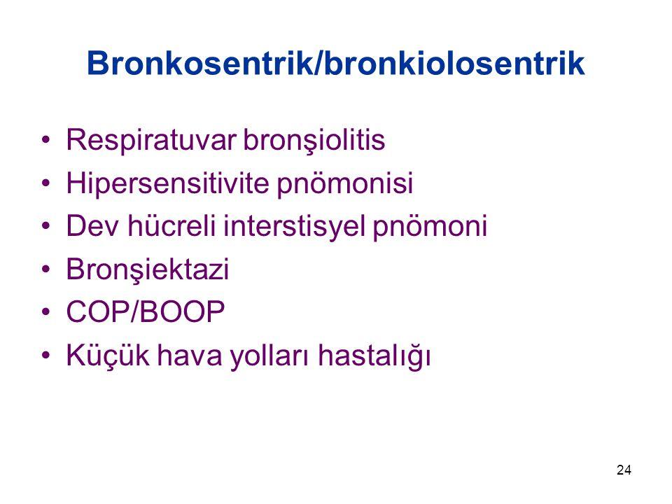 24 Bronkosentrik/bronkiolosentrik Respiratuvar bronşiolitis Hipersensitivite pnömonisi Dev hücreli interstisyel pnömoni Bronşiektazi COP/BOOP Küçük hava yolları hastalığı