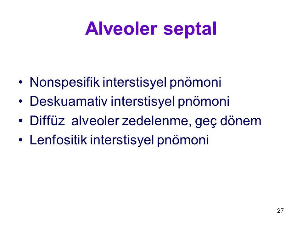 27 Alveoler septal Nonspesifik interstisyel pnömoni Deskuamativ interstisyel pnömoni Diffüz alveoler zedelenme, geç dönem Lenfositik interstisyel pnöm