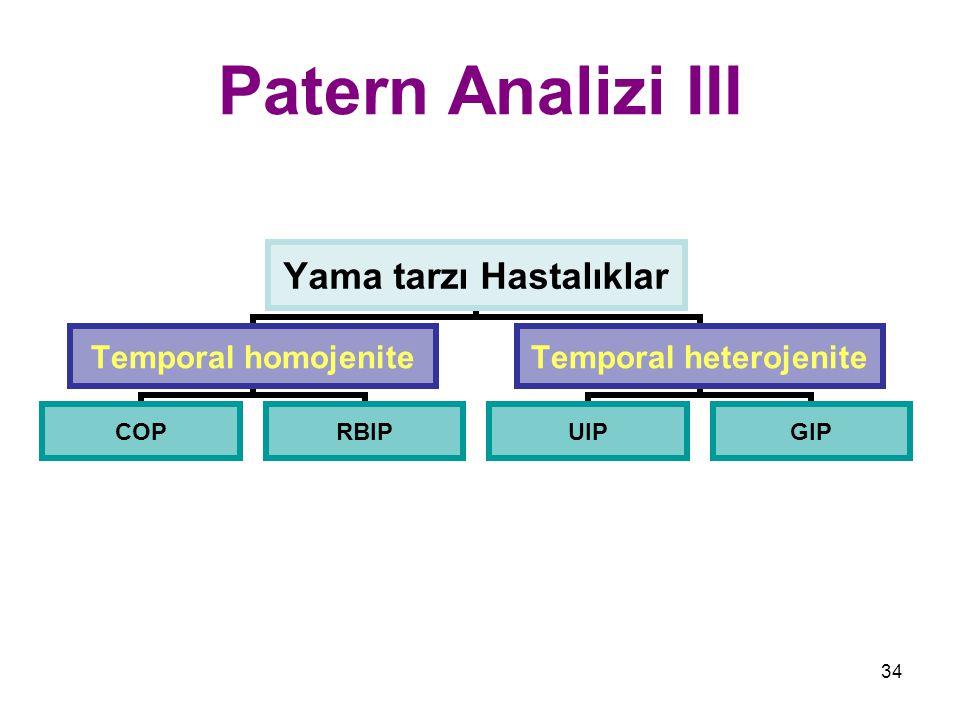 34 Patern Analizi III Yama tarzı Hastalıklar Temporal homojenite COPRBIP Temporal heterojenite UIPGIP