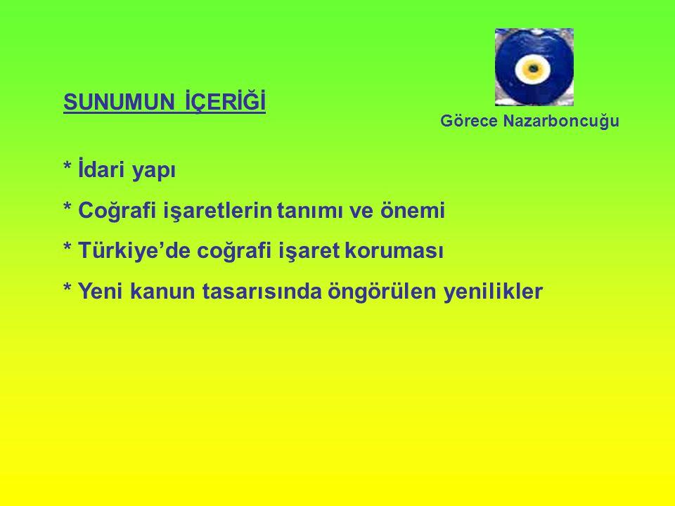SUNUMUN İÇERİĞİ * İdari yapı * Coğrafi işaretlerin tanımı ve önemi * Türkiye'de coğrafi işaret koruması * Yeni kanun tasarısında öngörülen yenilikler