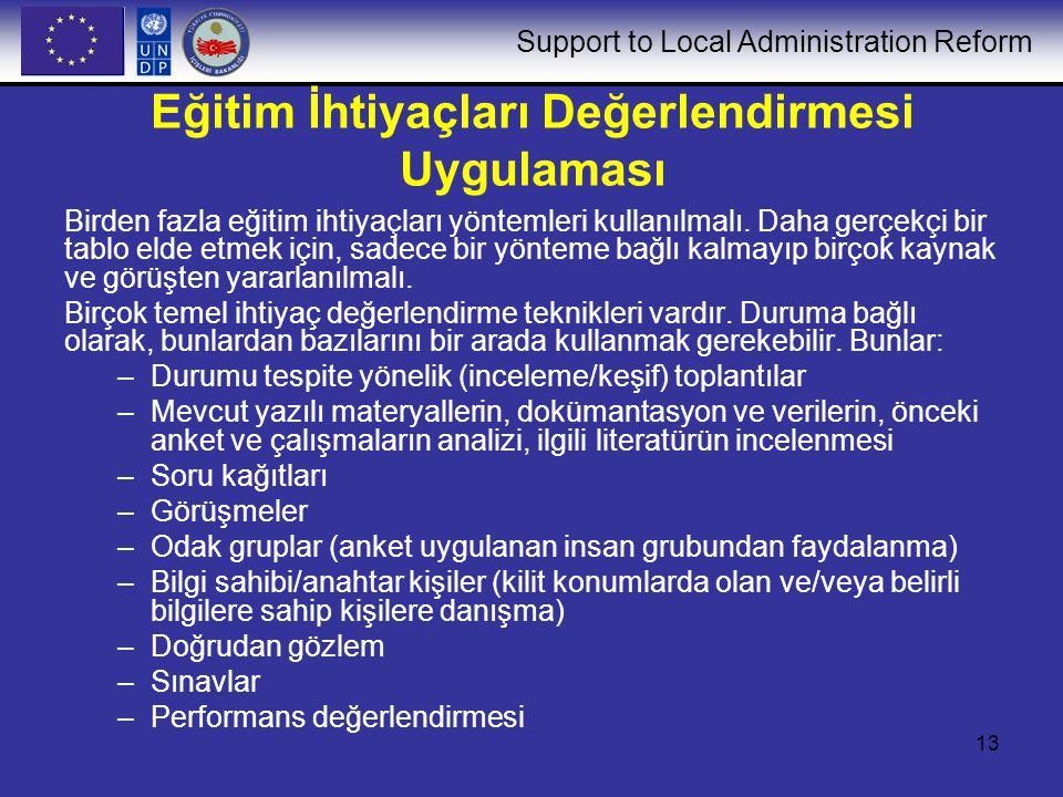Support to Local Administration Reform 13 Eğitim İhtiyaçları Değerlendirmesi Uygulaması Birden fazla eğitim ihtiyaçları yöntemleri kullanılmalı. Daha