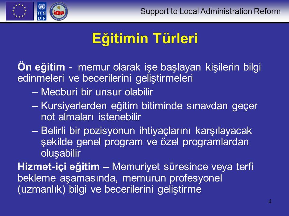 Support to Local Administration Reform 4 Eğitimin Türleri Ön eğitim - memur olarak işe başlayan kişilerin bilgi edinmeleri ve becerilerini geliştirmel