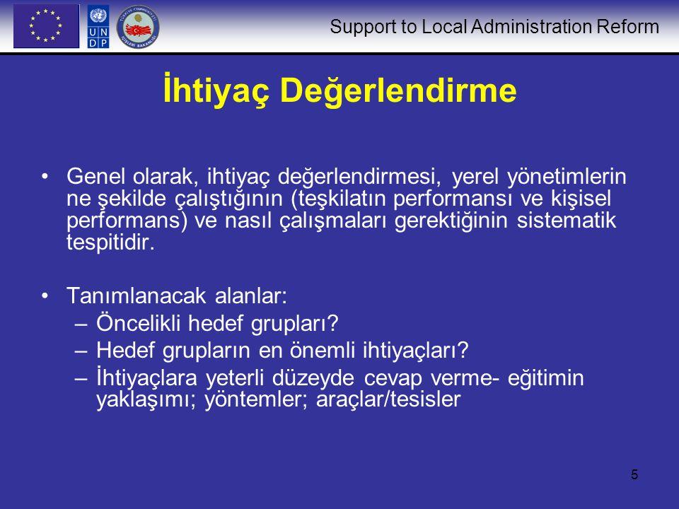Support to Local Administration Reform 5 İhtiyaç Değerlendirme Genel olarak, ihtiyaç değerlendirmesi, yerel yönetimlerin ne şekilde çalıştığının (teşk