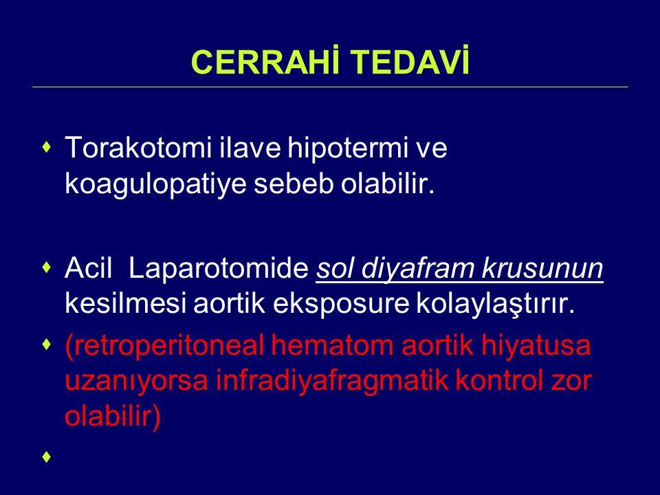 CERRAHİ TEDAVİ  Torakotomi ilave hipotermi ve koagulopatiye sebeb olabilir.  Acil Laparotomide sol diyafram krusunun kesilmesi aortik eksposure kola