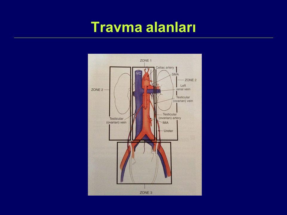 İliyak Arter Yaralanmaları  Pelvik fraktürlere bağlı laserasyonlar  Çekilmelere bağlı intimal yırtık ve trombozlar görülebilir.