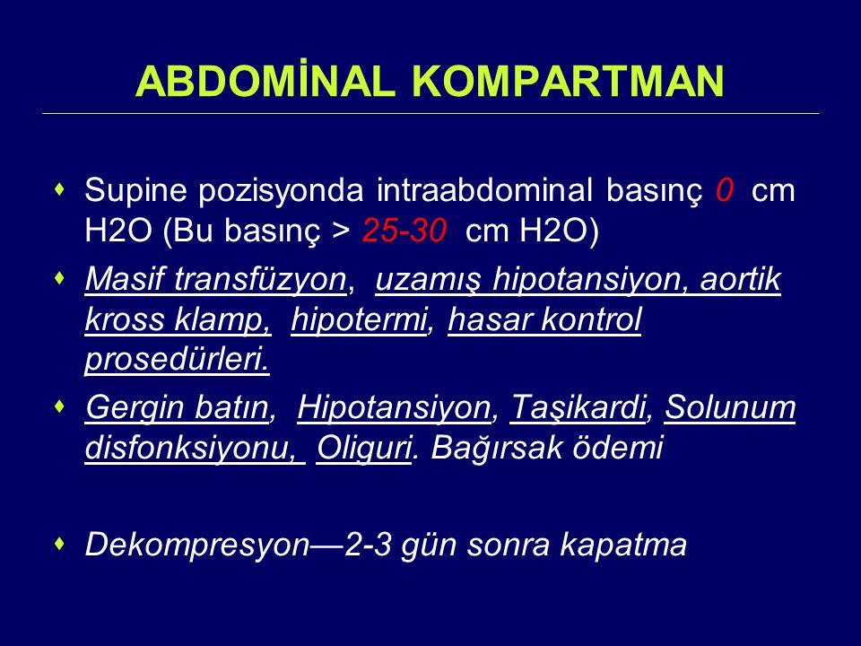 ABDOMİNAL KOMPARTMAN  Supine pozisyonda intraabdominal basınç 0 cm H2O (Bu basınç > 25-30 cm H2O)  Masif transfüzyon, uzamış hipotansiyon, aortik kr