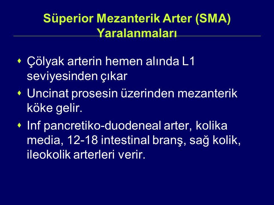 Süperior Mezanterik Arter (SMA) Yaralanmaları  Çölyak arterin hemen alında L1 seviyesinden çıkar  Uncinat prosesin üzerinden mezanterik köke gelir.