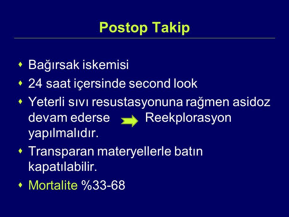 Postop Takip  Bağırsak iskemisi  24 saat içersinde second look  Yeterli sıvı resustasyonuna rağmen asidoz devam ederse Reekplorasyon yapılmalıdır.