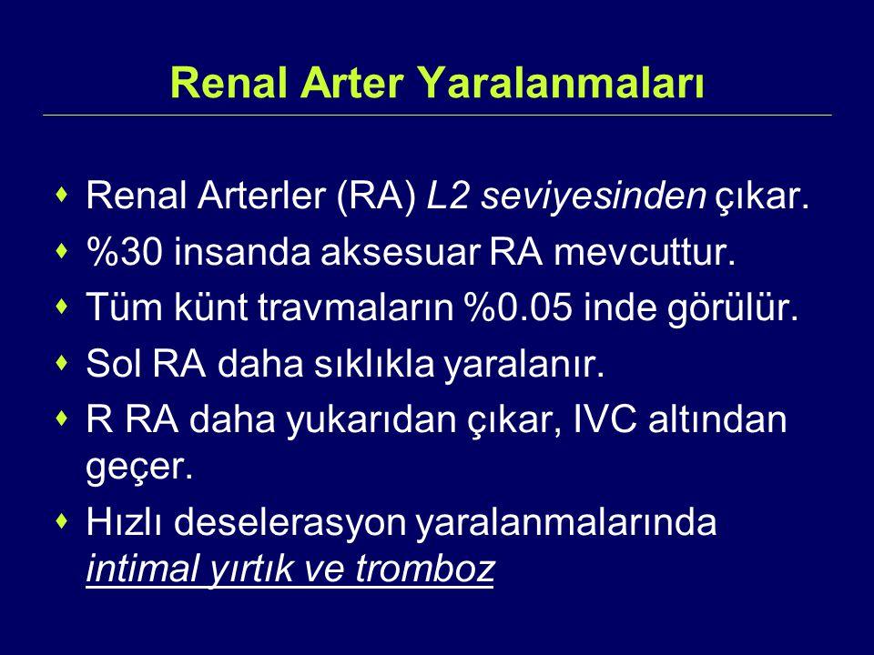 Renal Arter Yaralanmaları  Renal Arterler (RA) L2 seviyesinden çıkar.  %30 insanda aksesuar RA mevcuttur.  Tüm künt travmaların %0.05 inde görülür.