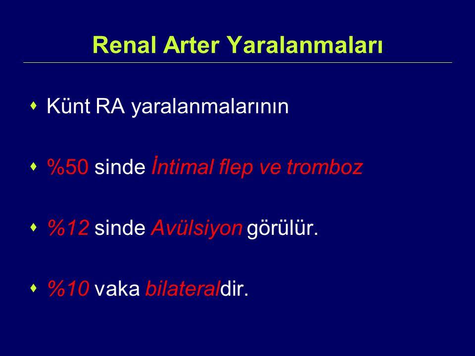 Renal Arter Yaralanmaları  Künt RA yaralanmalarının  %50 sinde İntimal flep ve tromboz  %12 sinde Avülsiyon görülür.  %10 vaka bilateraldir.