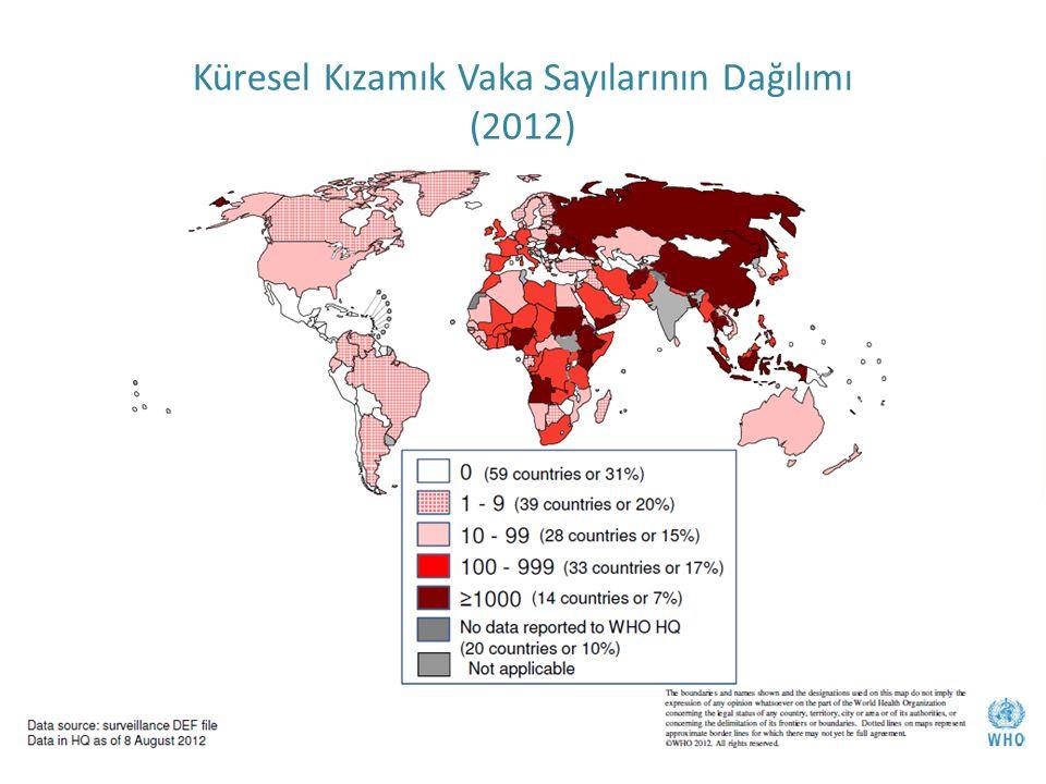 T.C. Sağlık Bakanlığı Türkiye Halk Sağlığı Kurumu Küresel Kızamık Vaka Sayılarının Dağılımı (2012)