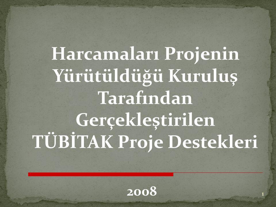 Harcamaları Projenin Yürütüldüğü Kuruluş Tarafından Gerçekleştirilen TÜBİTAK Proje Destekleri 2008 1