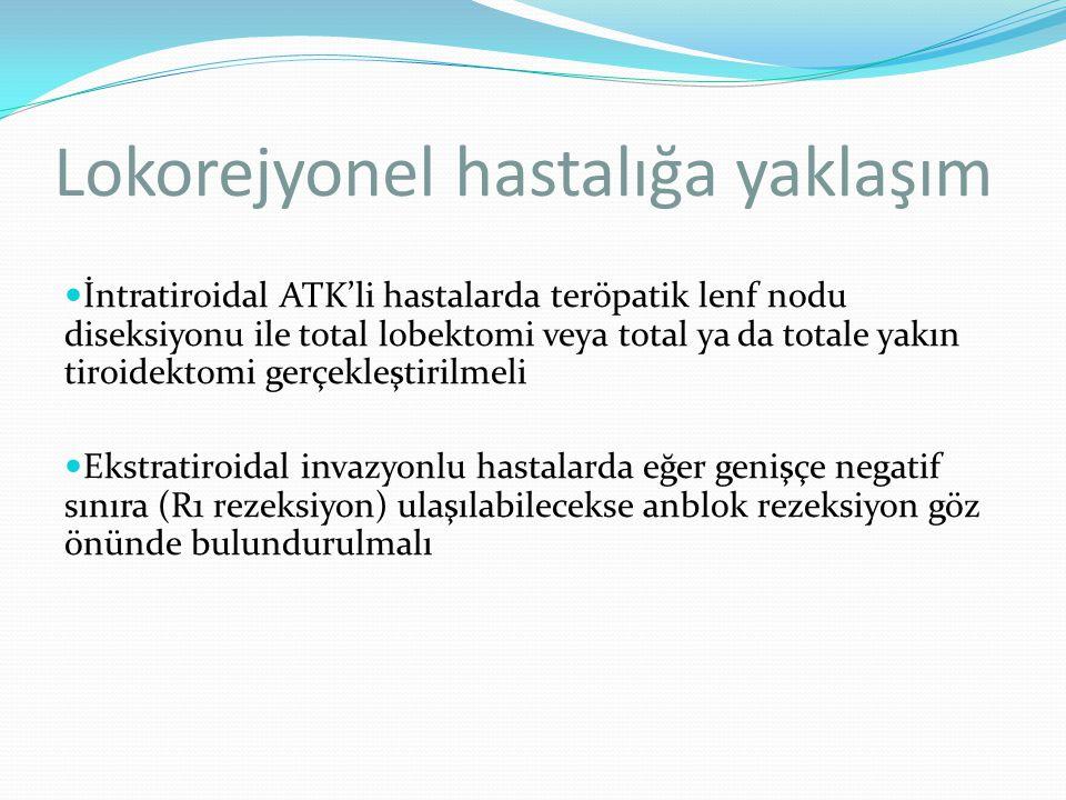 Lokorejyonel hastalığa yaklaşım İntratiroidal ATK'li hastalarda teröpatik lenf nodu diseksiyonu ile total lobektomi veya total ya da totale yakın tiro