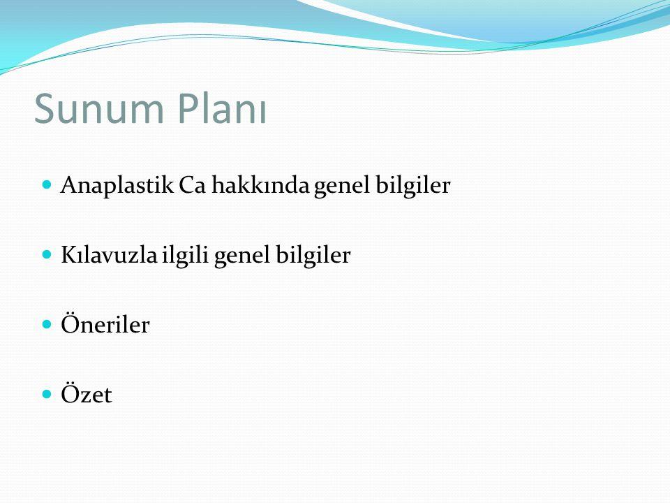 Sunum Planı Anaplastik Ca hakkında genel bilgiler Kılavuzla ilgili genel bilgiler Öneriler Özet