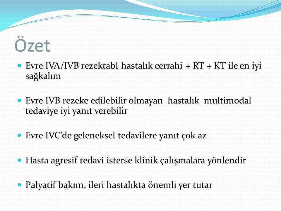 Özet Evre IVA/IVB rezektabl hastalık cerrahi + RT + KT ile en iyi sağkalım Evre IVB rezeke edilebilir olmayan hastalık multimodal tedaviye iyi yanıt v