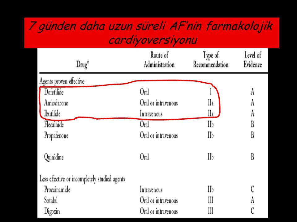 11 günden daha uzun süreli AF'nin farmakolojik cardiyoversiyonu 7 günden daha uzun süreli AF'nin farmakolojik cardiyoversiyonu