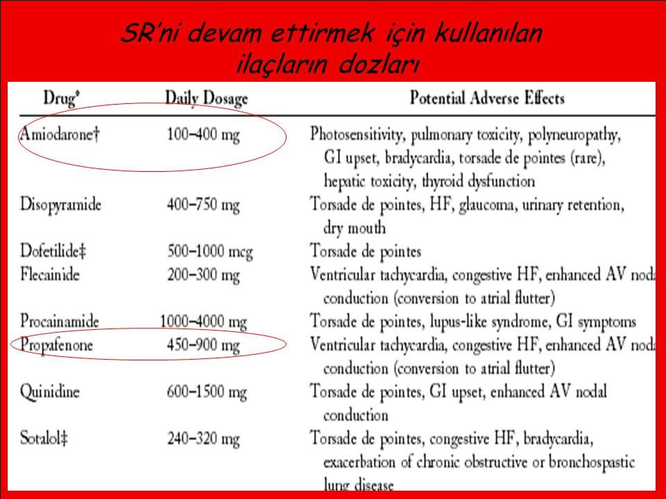 13 SR'ni devam ettirmek için kullanılan ilaçların dozları