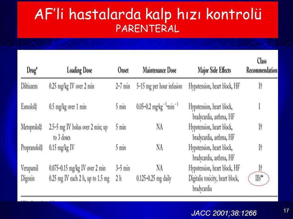 17 AF'li hastalarda kalp hızı kontrolü PARENTERAL JACC 2001;38:1266